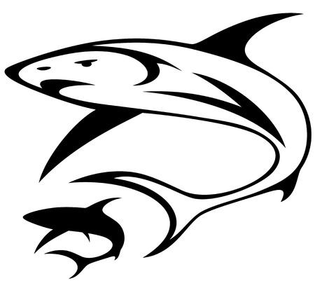 dead fish: shark vector illustration - black and white outline