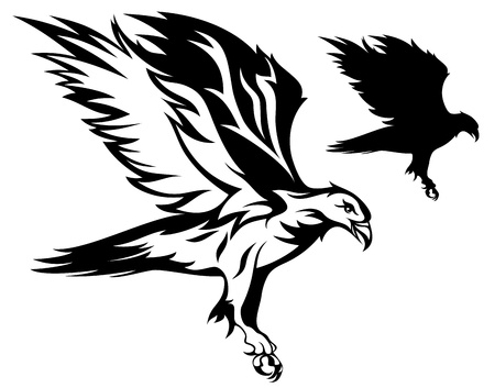 attacking: flying eagle vector illustration