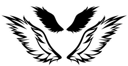 silueta de angel: alas vector