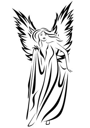 medieval woman: beautiful angel vector illustration