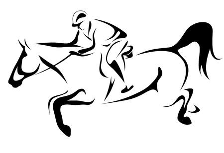 show jumping: horseman vector