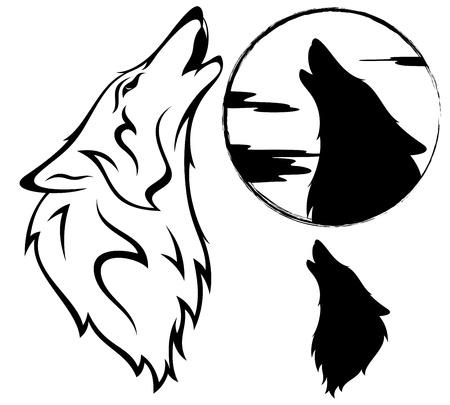 늑대: 짖는 늑대의 벡터 일러스트 레이 션 일러스트