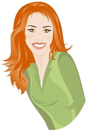 smiling woman with red hair Vector