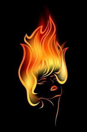 flammes: petite fille avec des flammes dans les cheveux