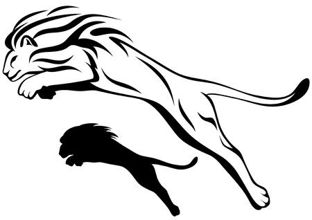 leones: saltando ilustraci�n le�n vector