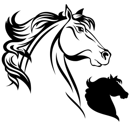 horses in the wild: horse head vector Illustration