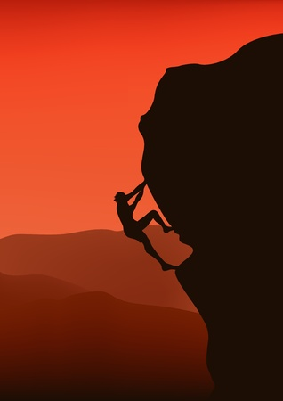 climbing mountain: rock climber vector
