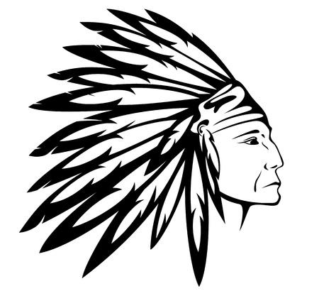 indian chief headdress: Red capo indiano indossare copricapo tradizionale Vettoriali