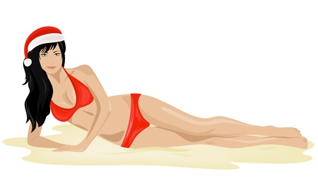 Santa girl on the beach Vector