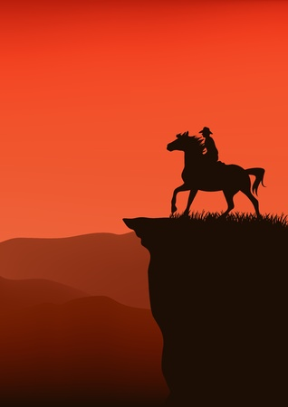 cowboy silhouette at sunset Vector