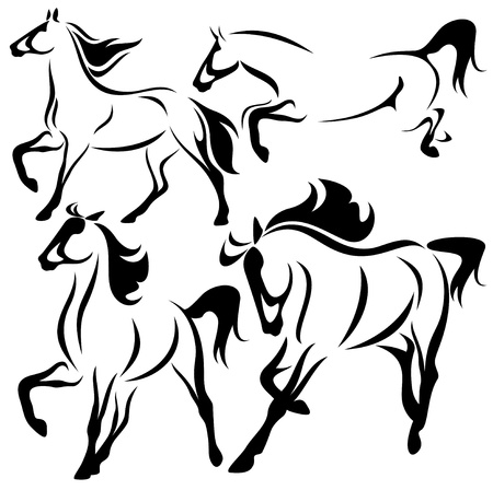 horse running: vector set of fine horses outlines