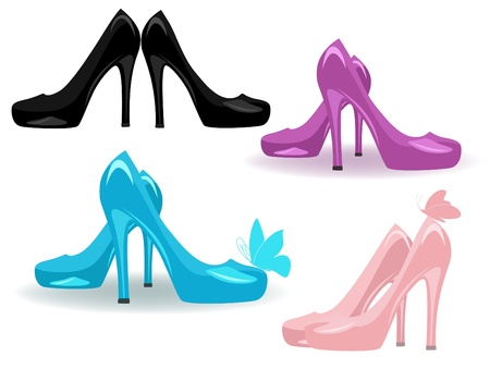 clip art feet: female shoes vector set