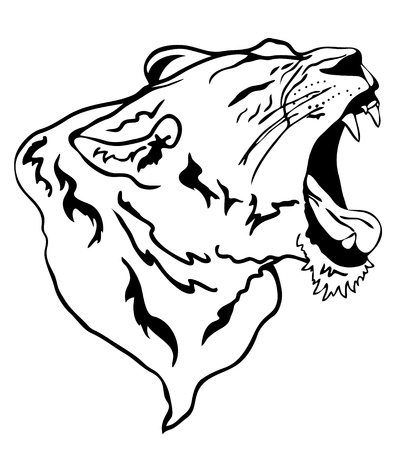 vector lion roaring Vector