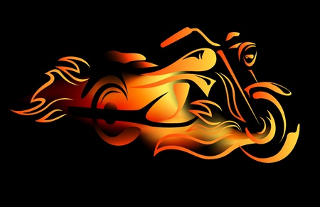 motorcycle racing: fiery motorcycle vector illustration