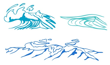 stylized sea waves vector illustration