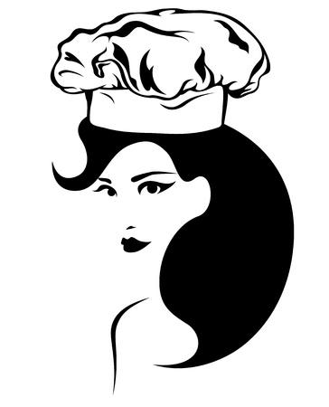 logos restaurantes: hermosa mujer chef de emblema de vectores