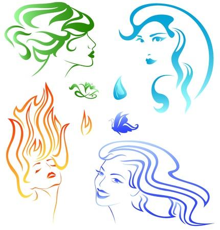 elements: cuatro elementos de concepto - retratos que representa el fuego, aire, agua y tierra Vectores
