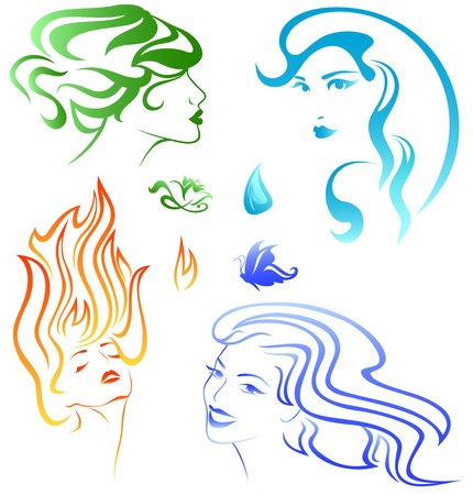 four elements concept - portraits representing fire, air, water and earth Vector
