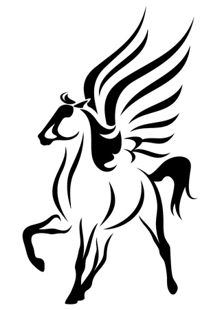 pegasus: beautiful pegasus vector illustration - symbol of inspiration Illustration