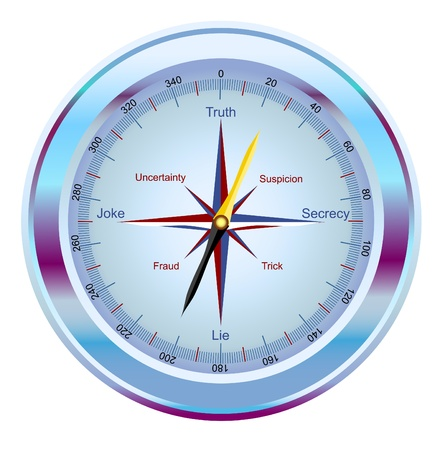 directly: vector compass, showing the way to the truth Illustration