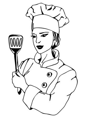 confectioner: beautiful female chef  vector illustration