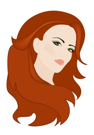 auburn: beautiful woman with gorgeous red hair vector illustration Illustration