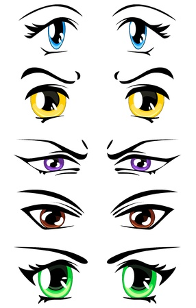 set of colorful manga style eyes