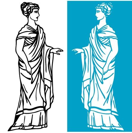 mythologie: sch�ne griechische Frau mit langen Tunika Illustration