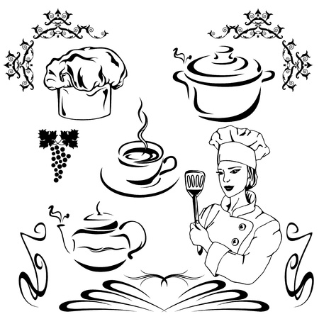 female chef: set of vector design elements - cooking theme Illustration