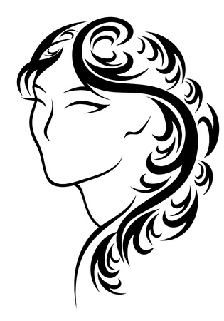 beautiful hairstyle vector illustration Vector