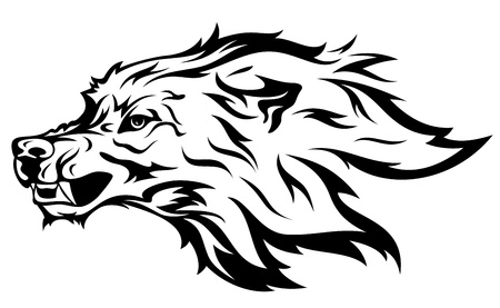 snarling: angry wolf vector illustration