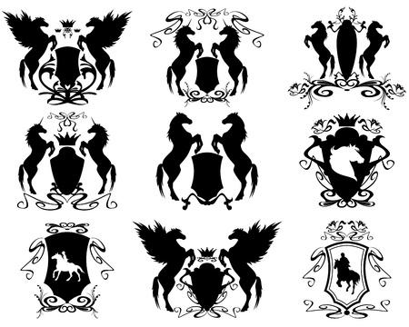 riding horse: equestrian heraldic set - vector shields