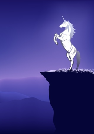 fairytale unicorn on the top of mountain Vector