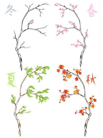 four seasons - oriental trees and Japanese kanji