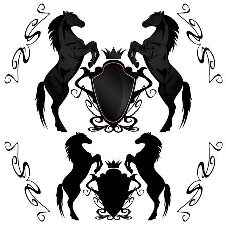 artes plasticas: escudos her�ldicos con caballos negros Vectores