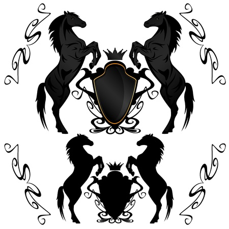 heraldic shields with black stallions Vector
