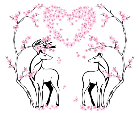 two animals: valentine card with two beautiful deers and blossoming tree