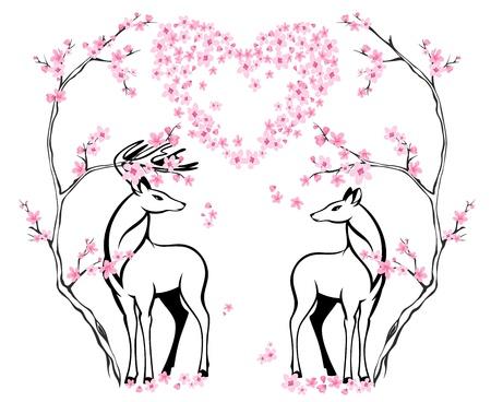 damhirsch: Valentine-Karte mit zwei sch�nen Hirsche und bl�henden Baum