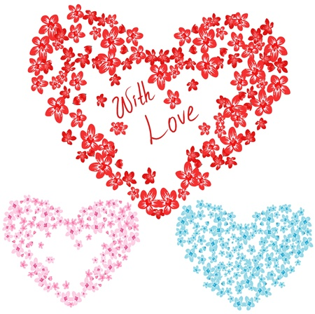 set of beautiful flower hearts for valentine design Stock Vector - 11662122