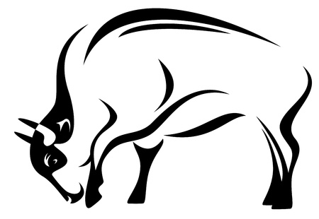 charging bull: buffalo illustration - black and white outline