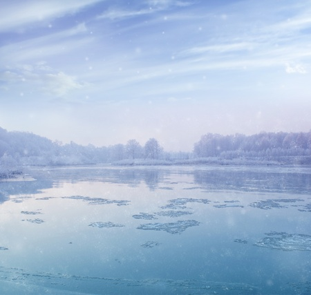 beautiful winter landscape - river during snowfall Stock Photo - 11662053