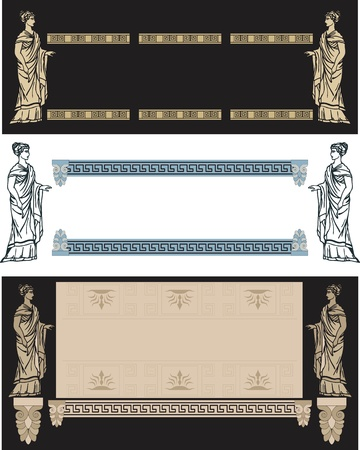 ancient greek: set of fine decoratibe frames with ancient Greek woman Illustration