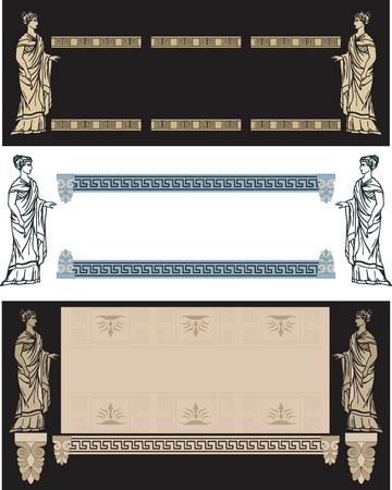 diosa griega: un conjunto de marcos decoratibe finas con una mujer griega antigua Vectores