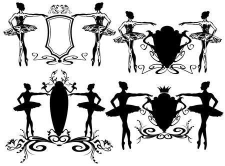 classical dance: set of emblems for ballet school - black and white illustration