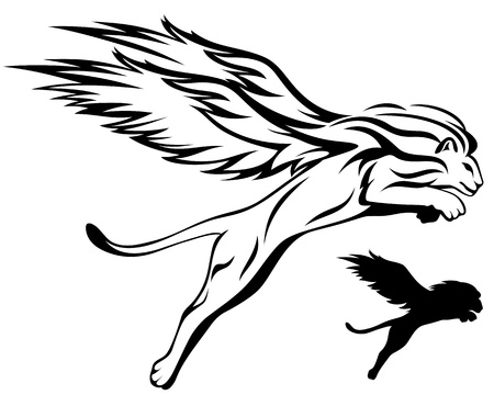 wings logos: mythical winged lion illustration