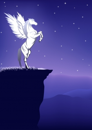 rearing: fairytale background - pegasus on the top of a mountain on a starry night Illustration