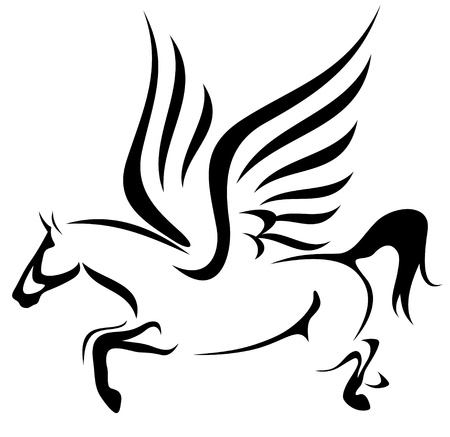 pegasus: flying pegasus illustration - symbol of inspiration Illustration