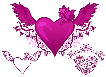 winged: set of beautiful hearts - elements for design