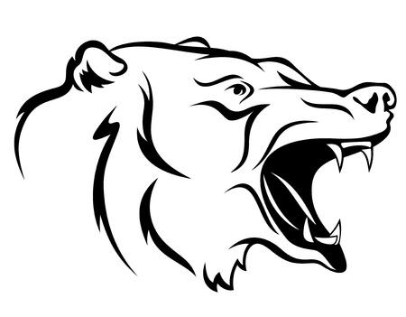 agression: Illustration f�roces ours - aper�u la t�te en noir et blanc Illustration