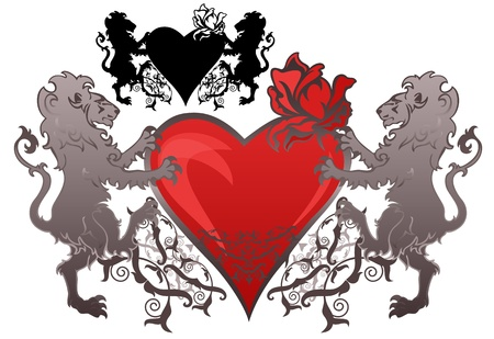 vintage style lions holding a heart with a rose bud Stock Vector - 11662136